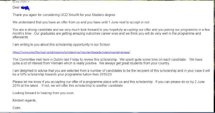 Uniivesity college dublin scholarship